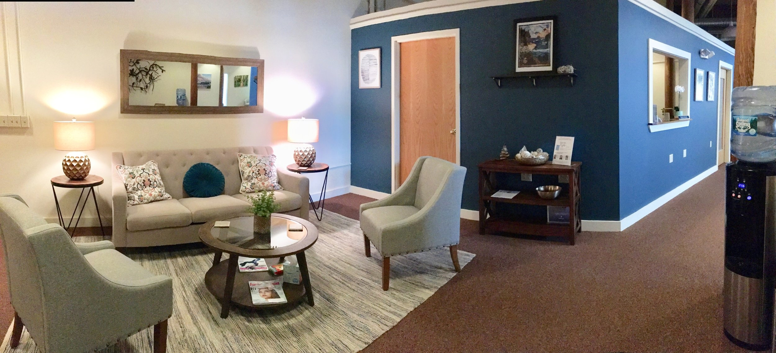 Our office lobby provides a comfortable place to enjoy a cup of tea and read or use our wifi.