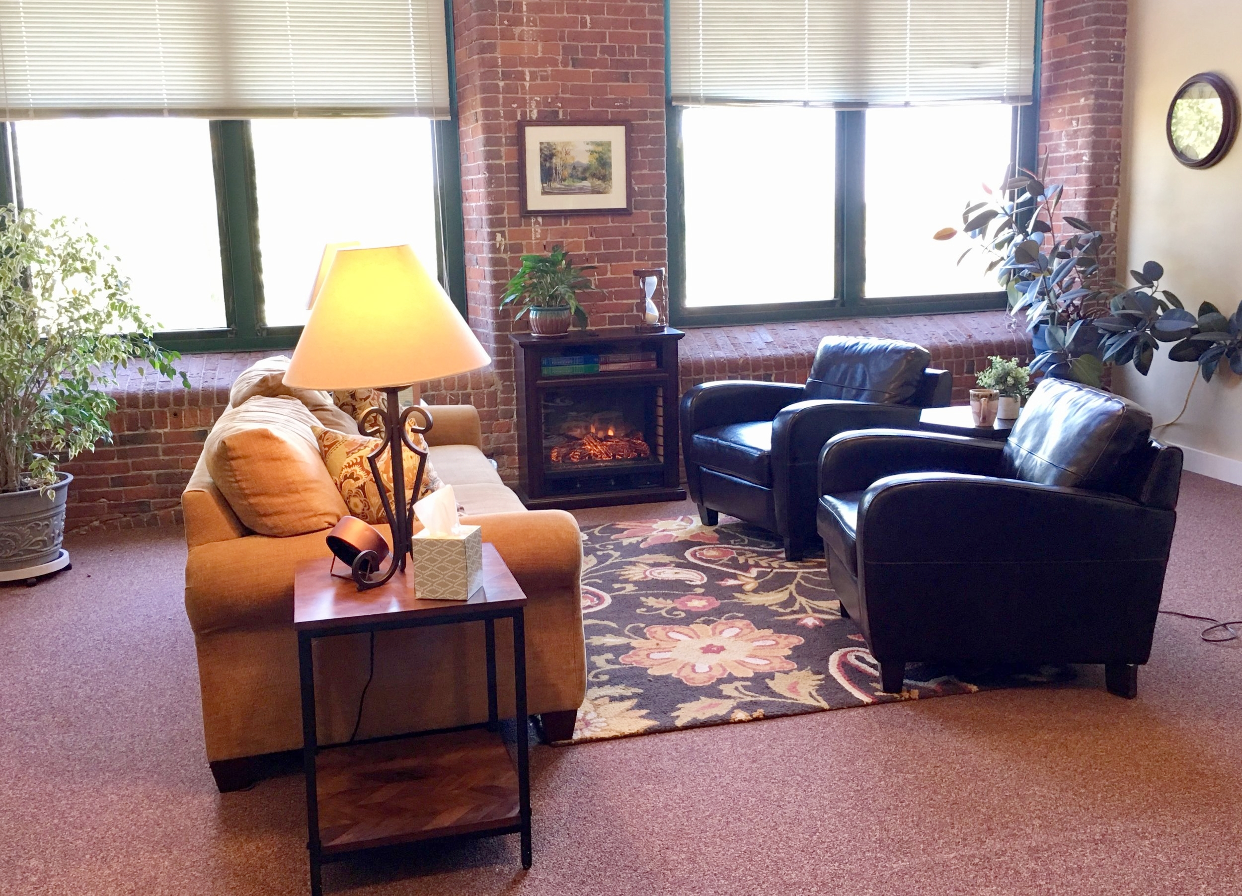 Our five therapy offices are designed for comfort, with high ceilings, soothing colors, comfortable furniture, and views of the Androscoggin River.
