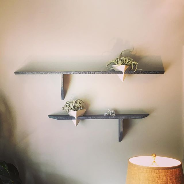 "New shelves at Neuma made by local artists @matthewgramling  and @janelle_gramling  Tiny elephants sit on top because I always wanted a therapy office with ""elephants in the room."" #NeumaPsych"