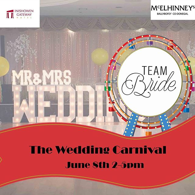 Yes!! It's Carnival Week 🎡❤️ This is one event you won't want to miss! We have - 🌟30 fab suppliers 🌟live music/entertainment 🌟Bridal Fashion Showcase 🌟Goodie Bags 🌟Makeup Demos 🌟Plasma Clinic Demo 🌟Competitions, offers and lots of spot prizes!! Why go to the fair when we have the carnival 🎡❤️ #weddingcarnival #teambrideweddingcarnival #teambrideevents #donegalwedding #donegalweddingsupplier
