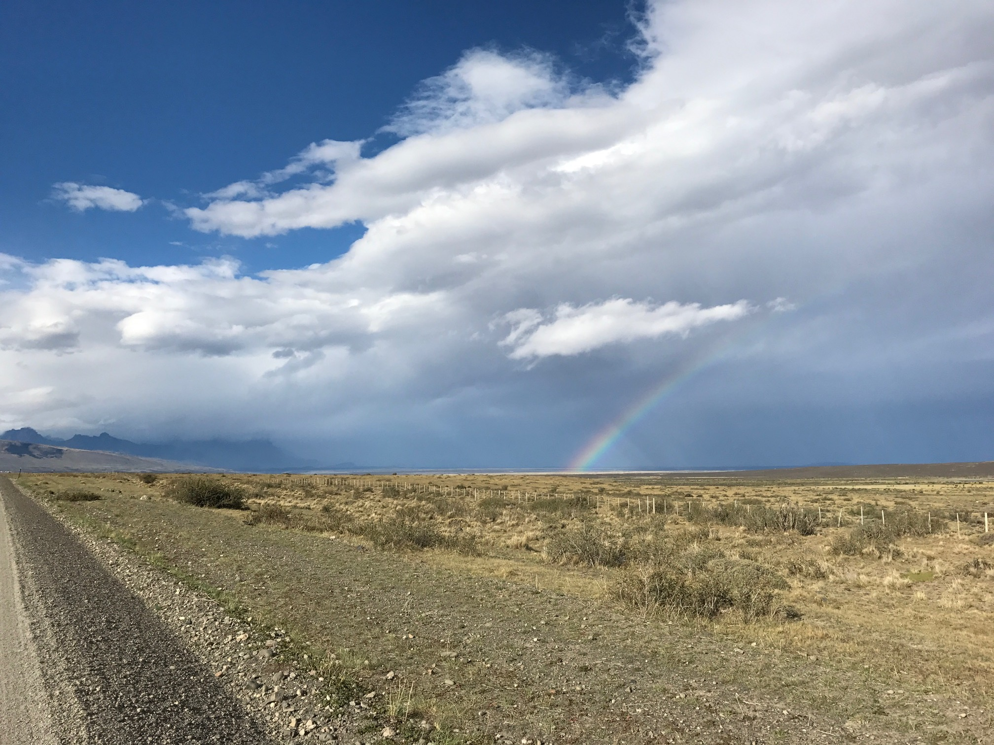 Rainbow driving into Patagonia