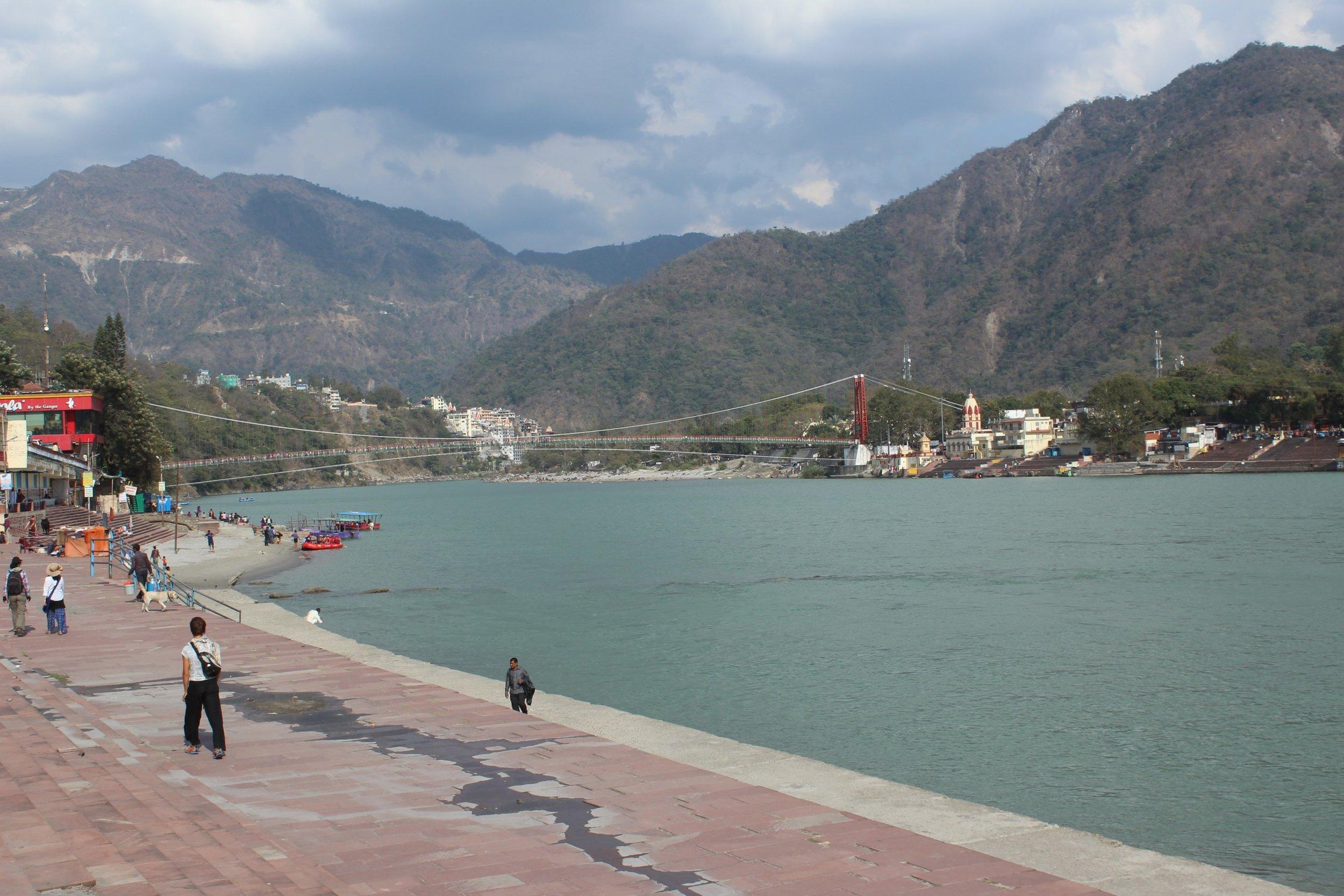view of the Ram Jhula bridge over the Ganga