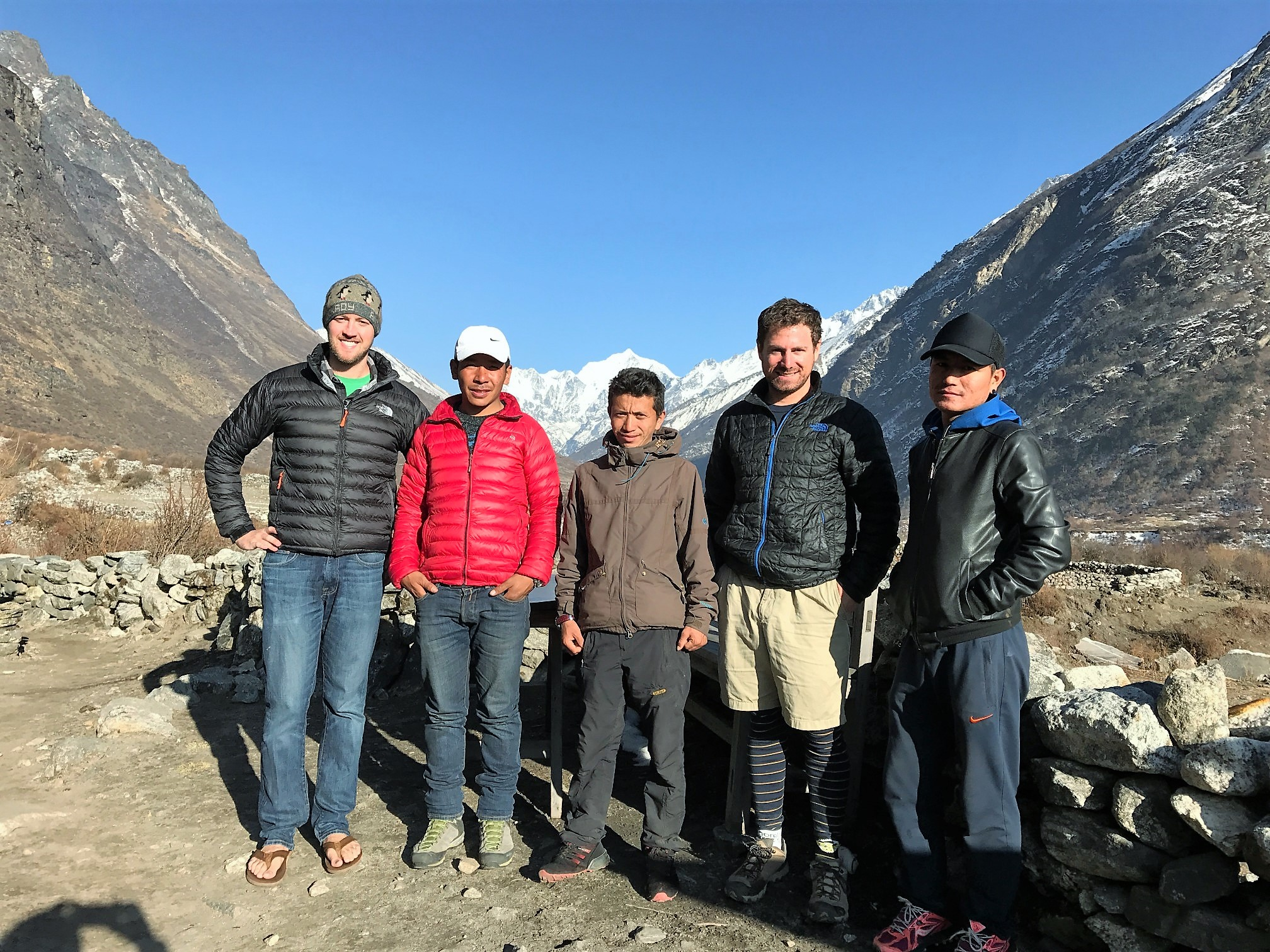 Left to Right: Me, Pasang (Founder Tenjin Eco Treks), Seraph (our guide), Kevin, Chimay (Manager Tenjin Eco Treks)