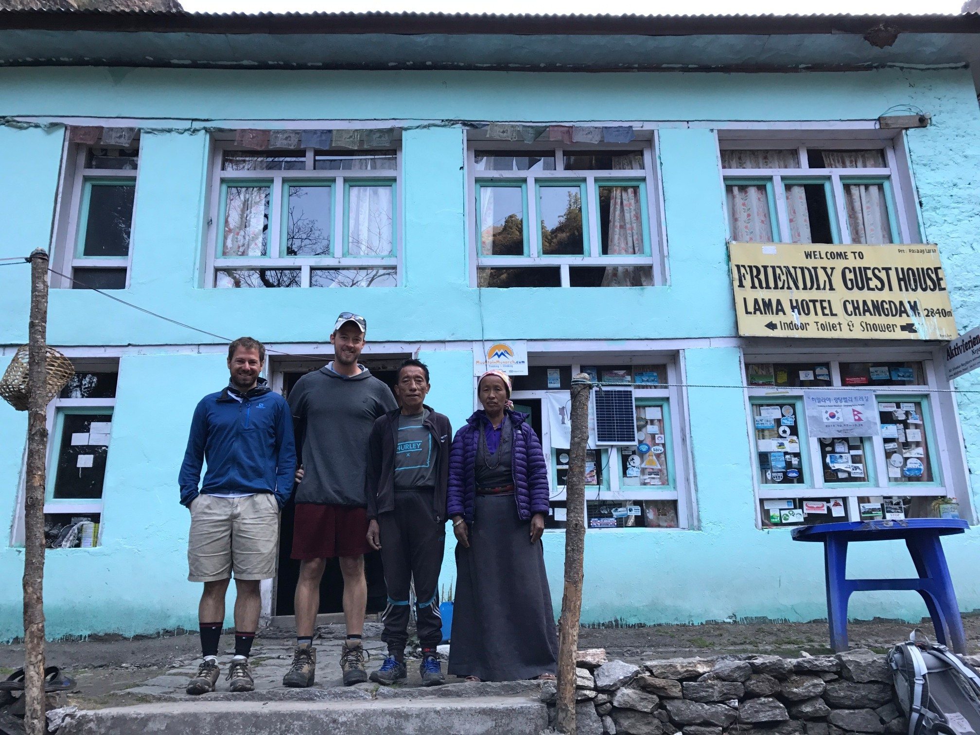 Kevin and I with Friendly Guest House owners