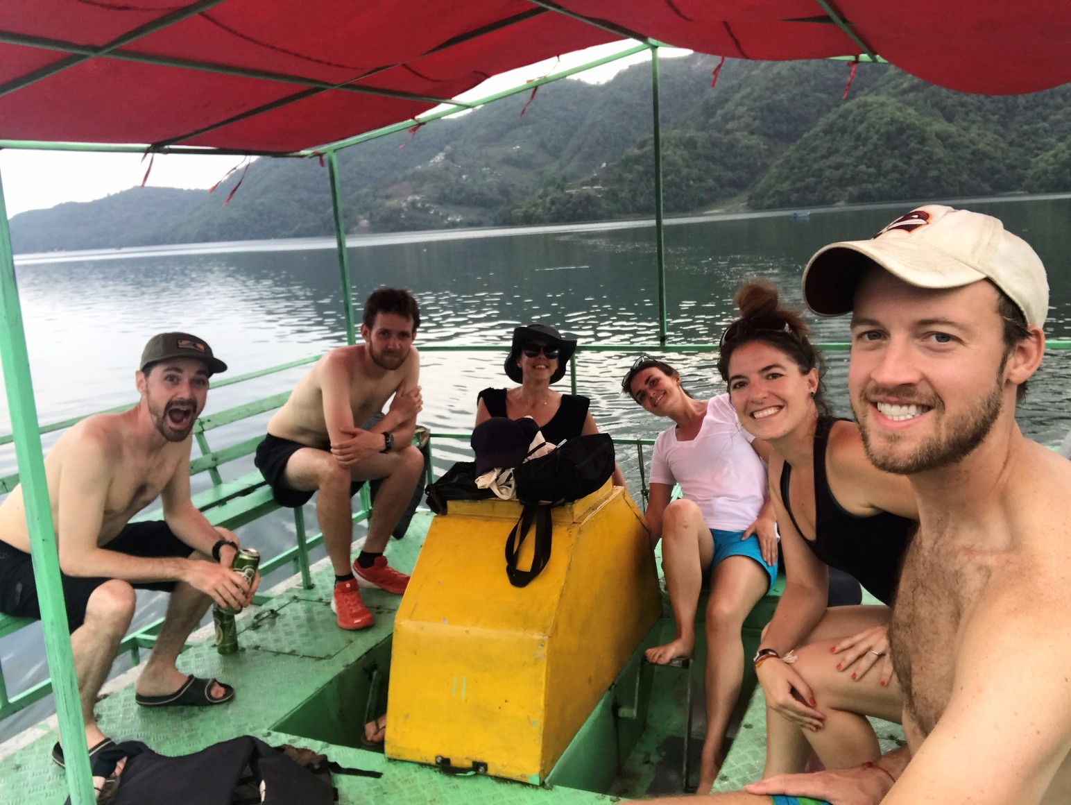 The crew out on the paddleboat