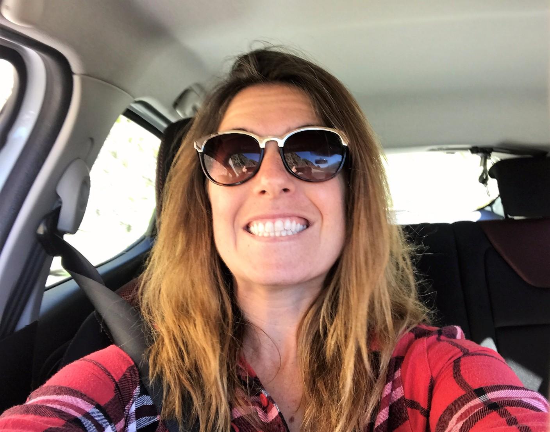 Car selfie - terrified face