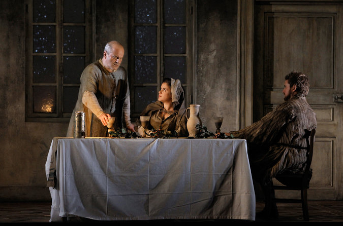 Rebecca Jo Loeb, Christopher Purves, and Allan Clayton in  Written on Skin  at Festival d'Aix-en-Provence. Photo by Pascal Victor/ArtcomArt and Festival Aix-en-Provence.