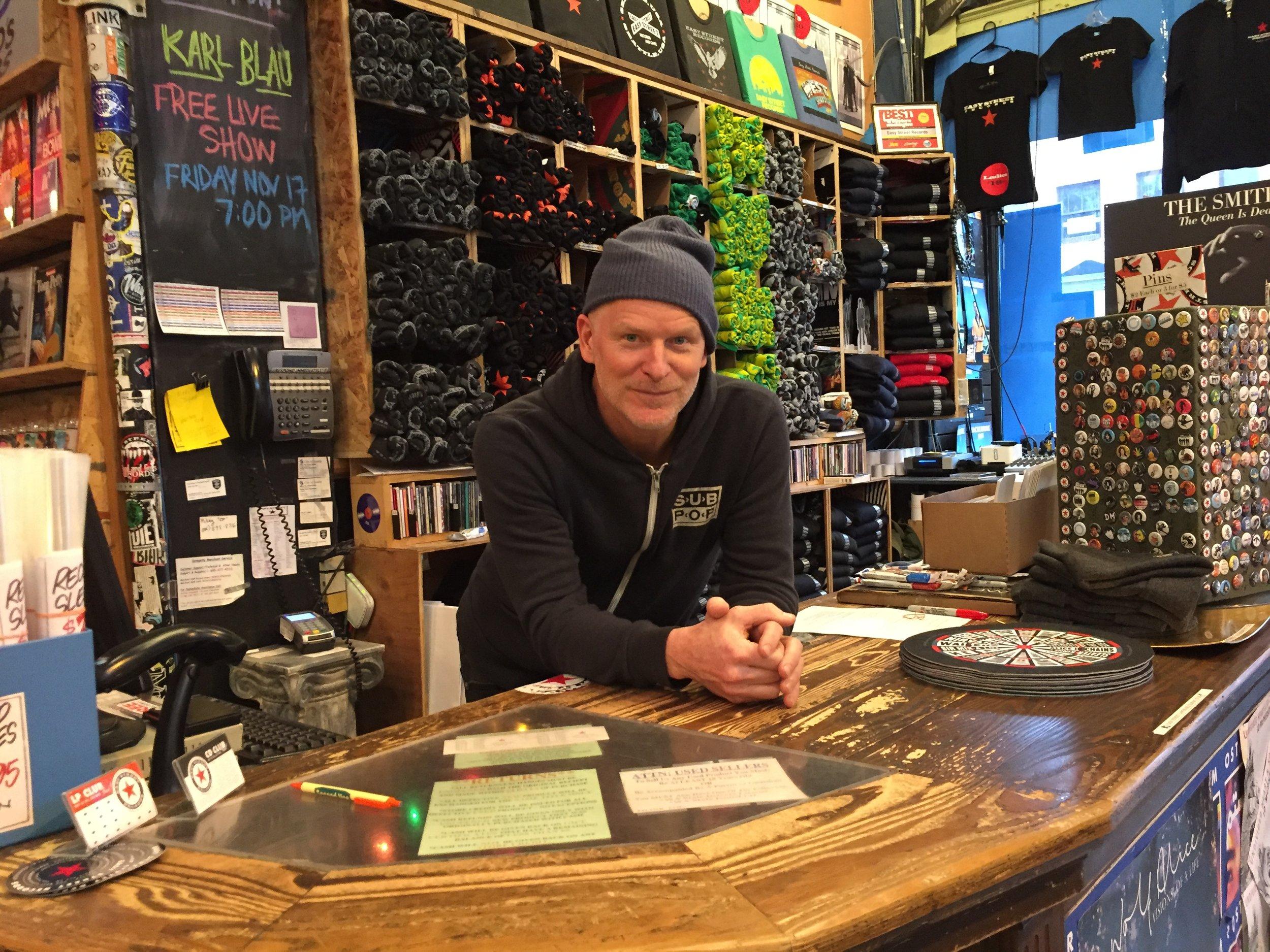 Matt Vaughan Behind the Easy Street Counter