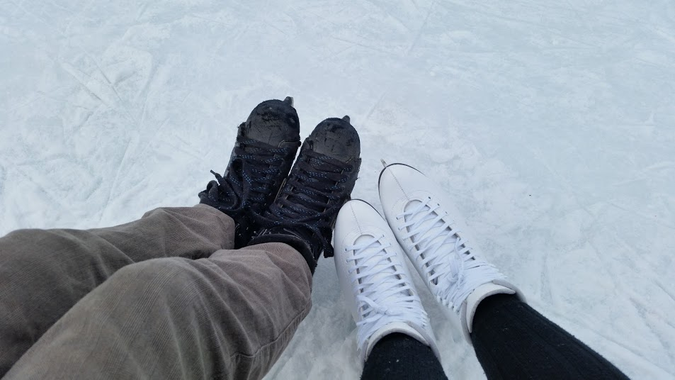 Two Winters ago we went pond skating in Montreal! I was a little rusty but it was fun!