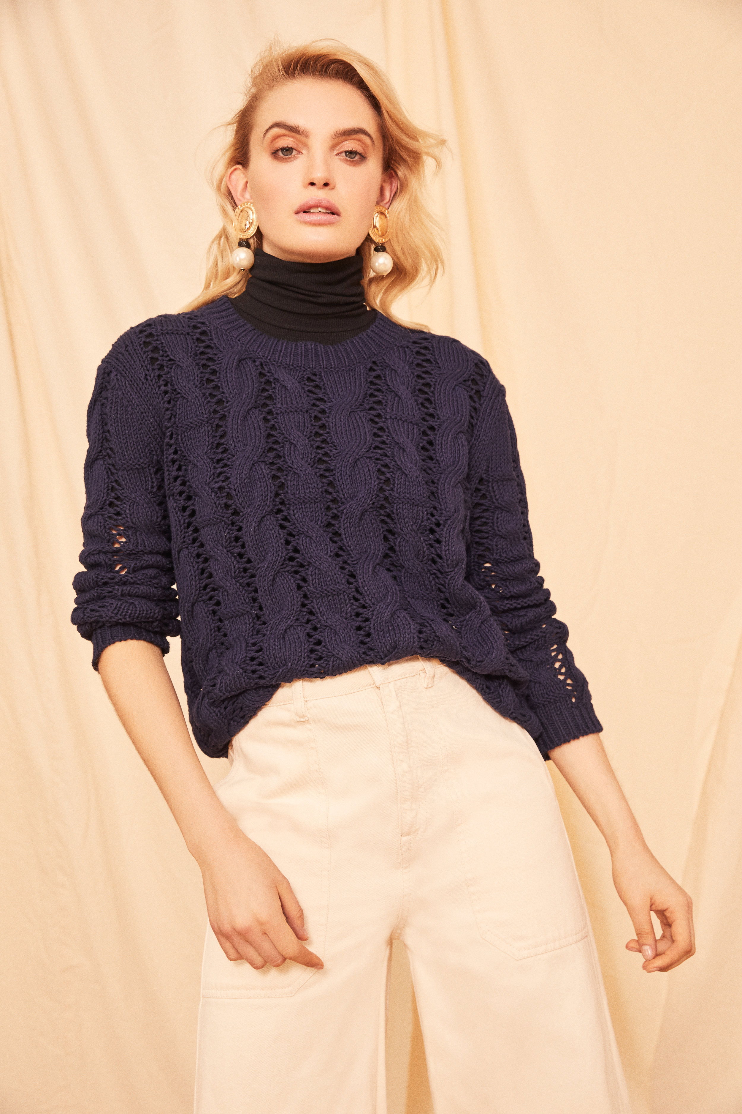 Cotton Cable Crewneck Sweater<strong>COMING SOON</strong>