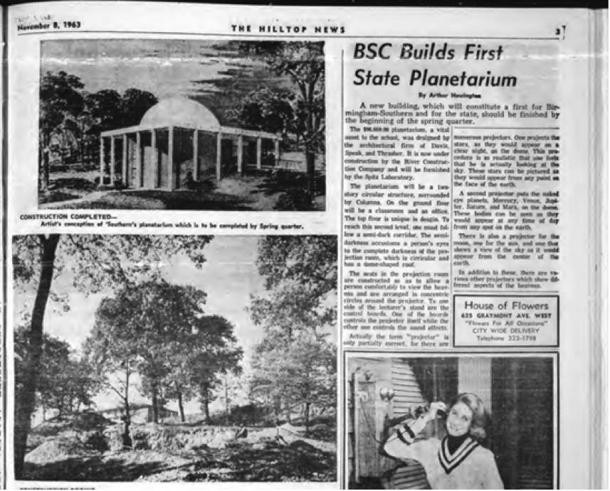 A screenshot of an article written about the planetarium that was featured in  The Hilltop News.