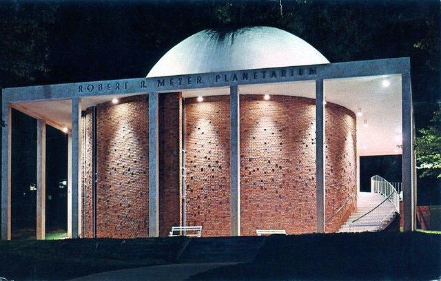 """The BSC bookstore once sold postcards that featured the college's """"star theatre."""" Built in 1964, the Robert R. Meyer planetarium was the first in the state."""
