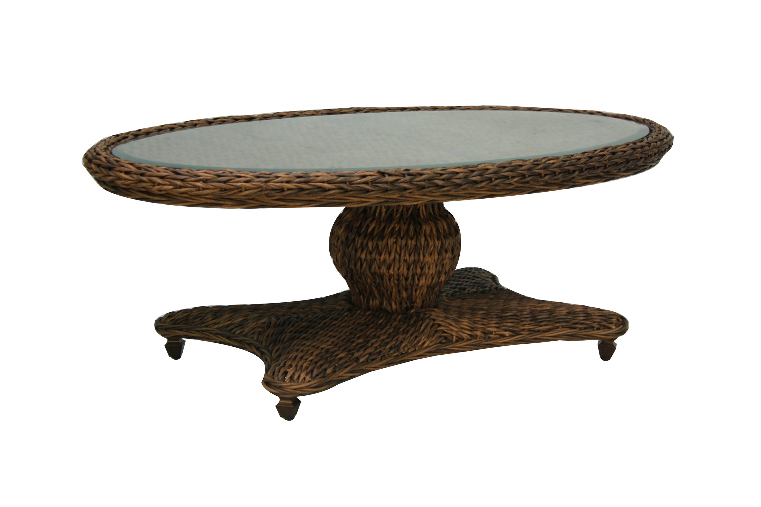 "973834 Antigua Coffee Table  *see Book  (973834TW Antigua Woven Top & Glass) (973834B Antigua Coffee Table Base)  30.1"" x 52.1"" x 21.9"""
