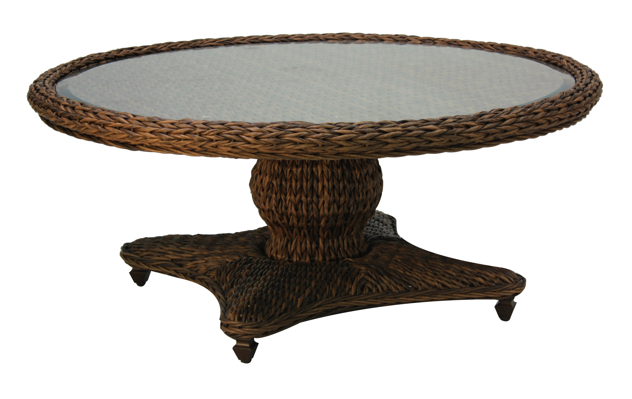"973842 Antigua Round Coffee Table * see Book  (973842TW Antigua Woven Top & Glass) (973842B Antigua RoundCoffee Table Base)  44"" x 44"" x 21.9"""
