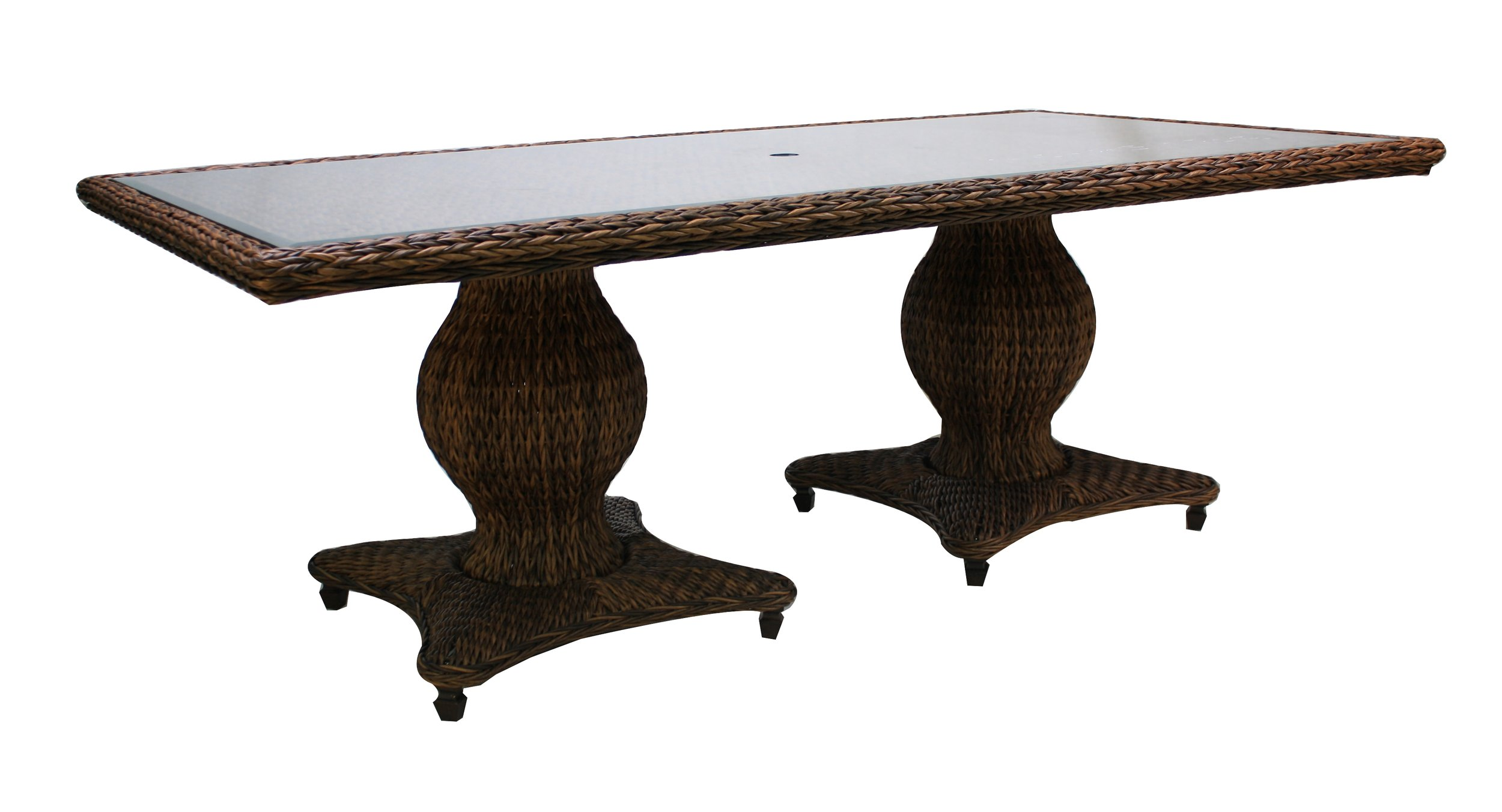 "973884 Antigua 84"" Rect. Dining Table 973896 Antigua 96"" Rect. Dining Table  *see Book  (973884/96TW Antigua Woven Top & Glass) (973884/96B Antigua 84""/96"" Rect. Dining Table Base)  84"""" x 44"" x 29.5"" or 96"" x 44"" x 29.5"""