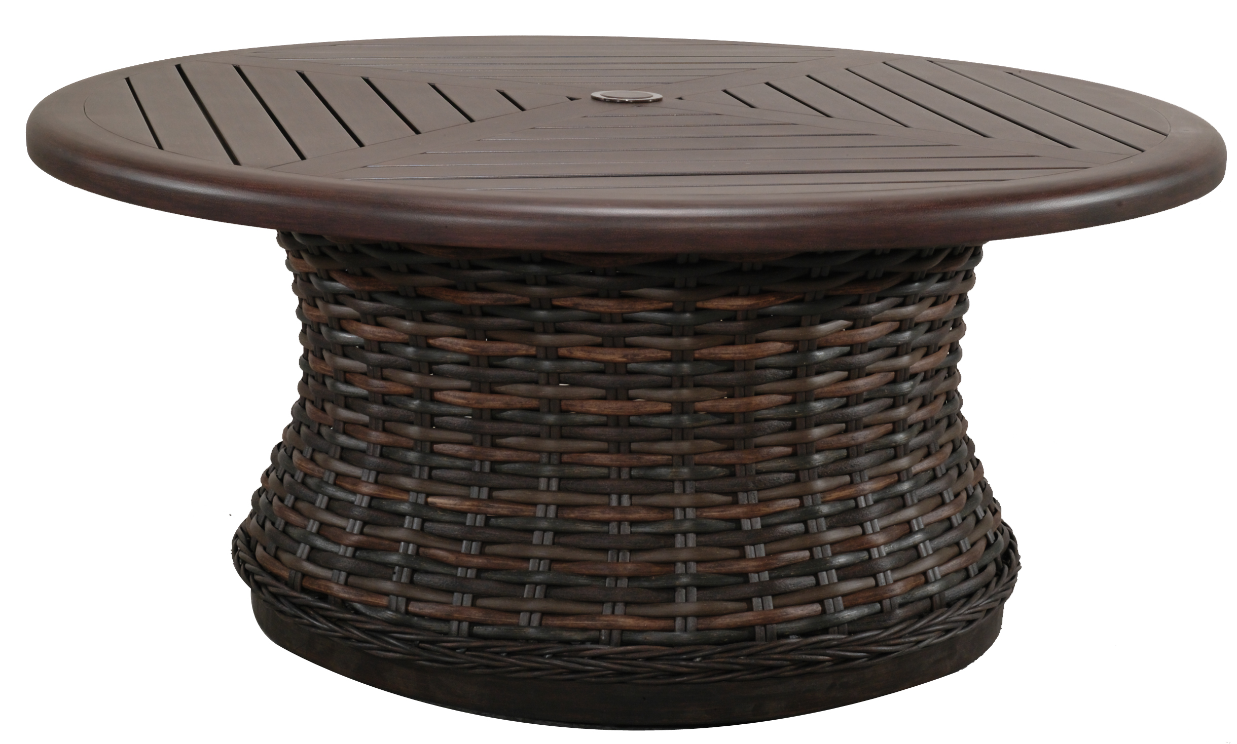 "971236B Catalina Round Woven Coffee Table Base  (Base only) * See Book  (Top : W-42R Farnham Aluminum Faux Wood Top)  27.6"" x 27.6"" x 17.5"""