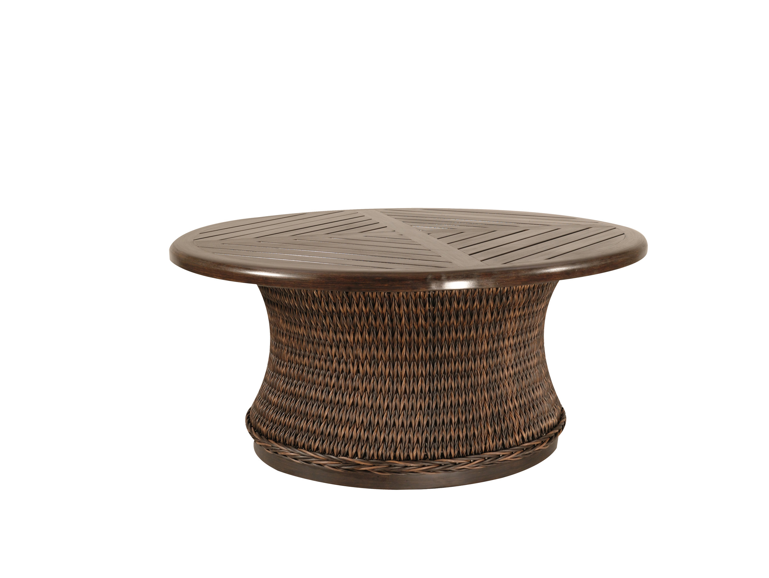 "973036B Monticello Round Woven Coffee Table Base   (Top : W-42R Farnham Aluminum Faux Wood Top)  27.6"" x 27.6"" x 17.5"""