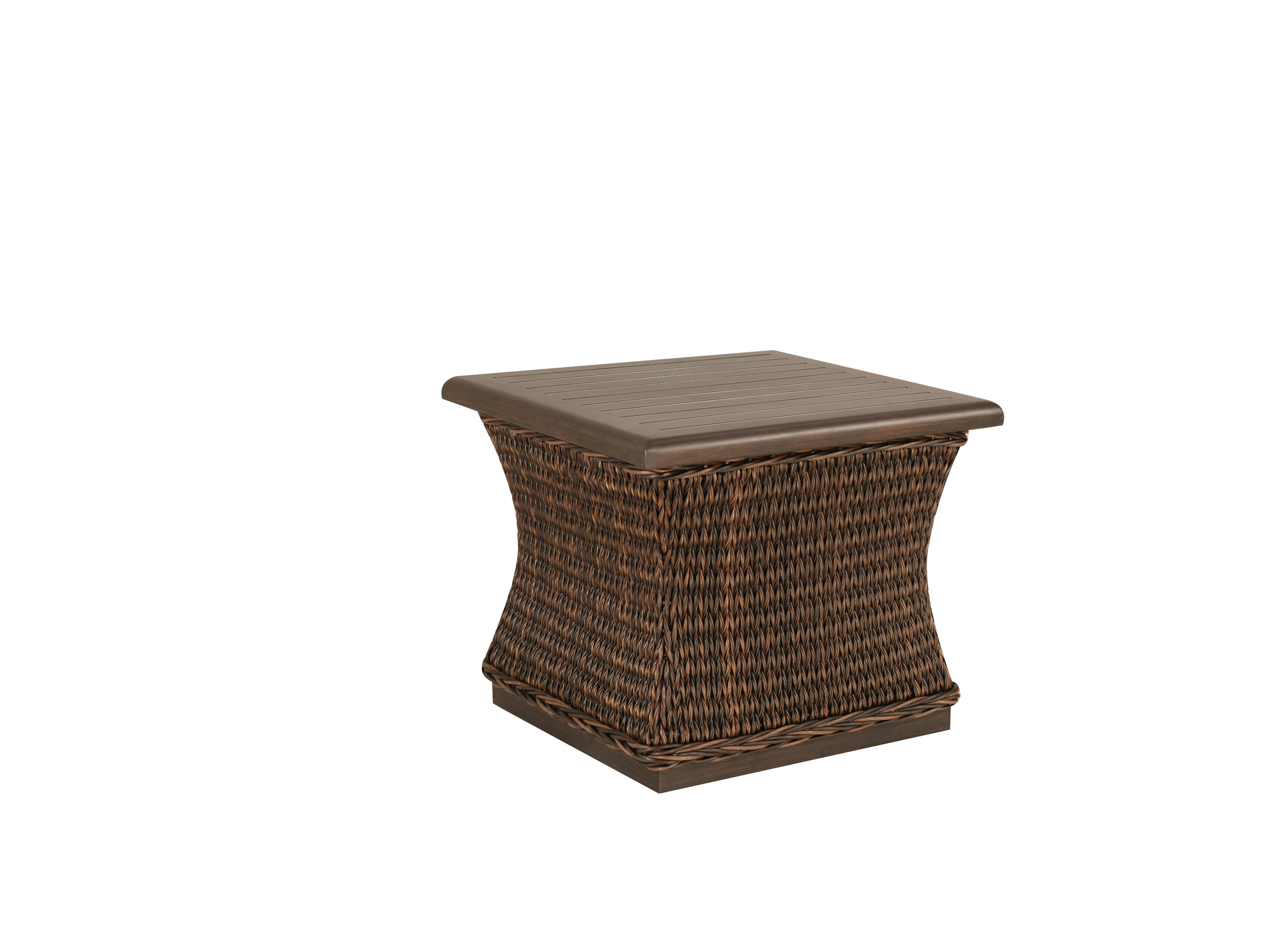 "973022B Monticello Woven End Table Base   (Top : W-23S Farnham Aluminum Faux Wood Top)  19.5"" x 19.5"" x 17.5"""