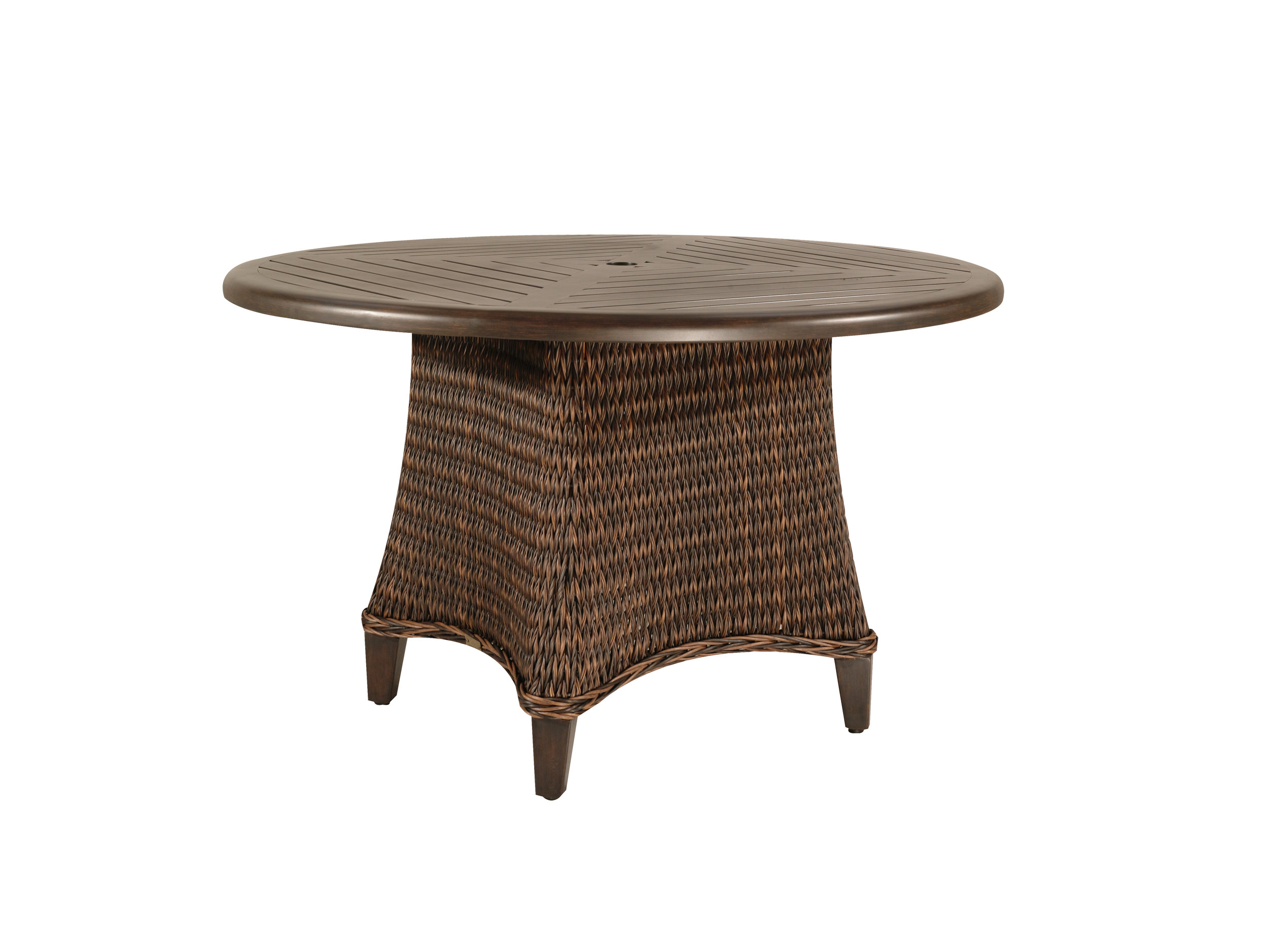 "973048B Monticello 48"" Dining Table Base   (Top : W-48R Farnham Aluminum Faux Wood Top)  25.3"" x 25.3"" x 27.5"""