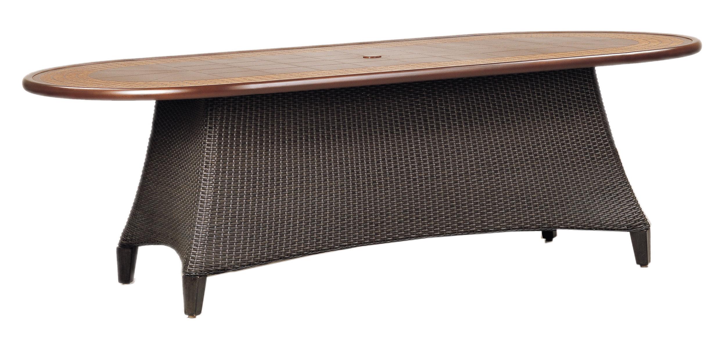 "970192B Monterey 92"" Dining Table Base   (top : CS-4276 Grandeur Aluminum Faux Stone Top)  28.8"" x 63.8"" x 27.5"""