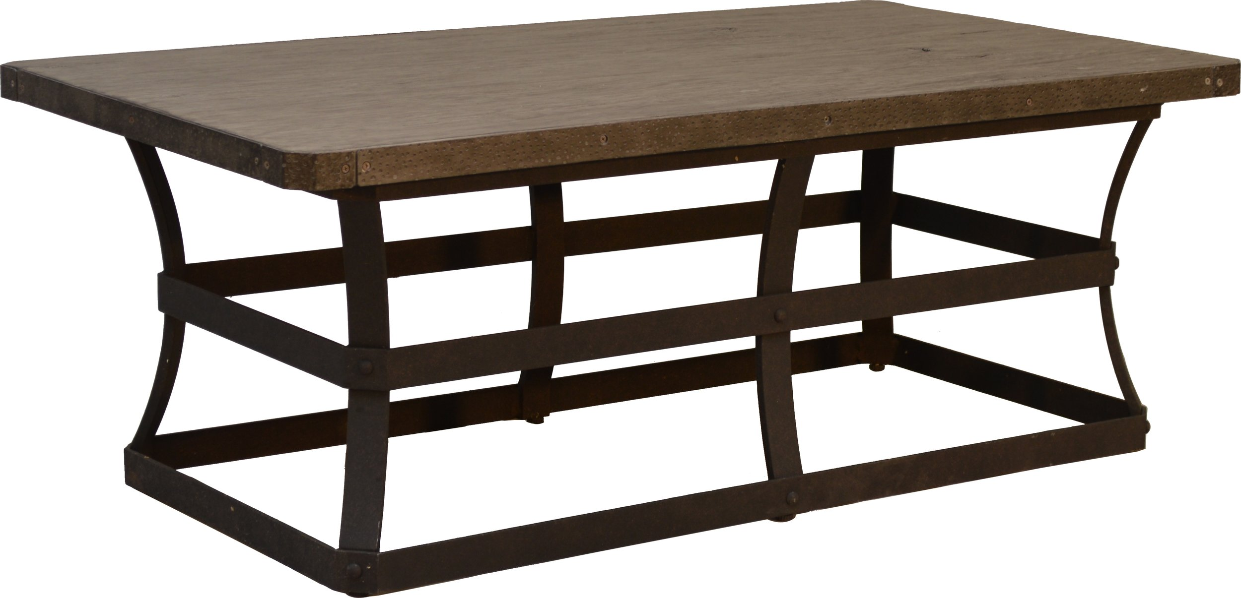 """PL-2648 26"""" x 48"""" Rect. Coffee Table base   20"""" x 42"""" x 17""""  Top - EA-35 Erie 26"""" x 48"""" Rect. Faux Wood Top Reclaimed Barnwood"""