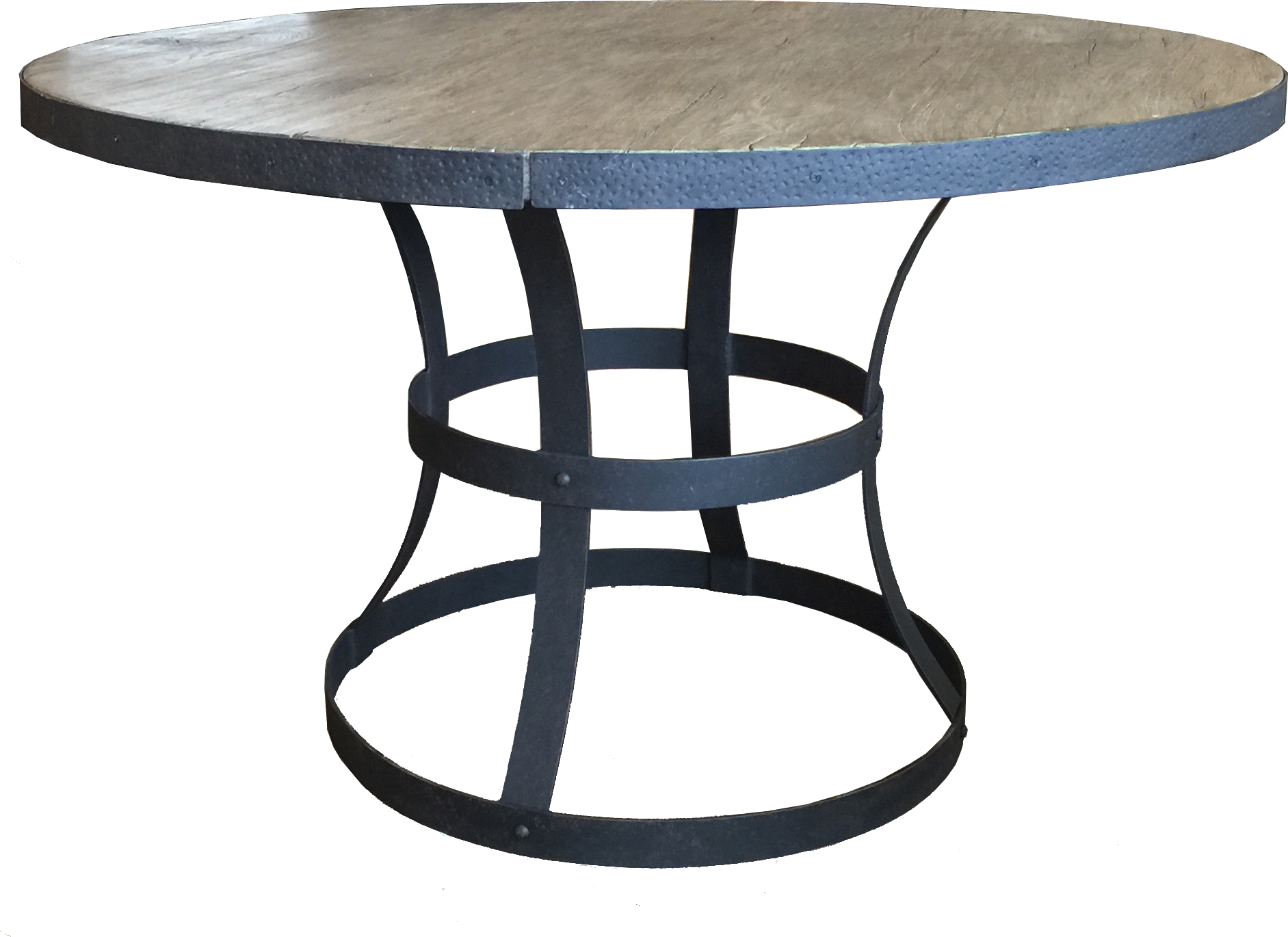 """PL-48R 48"""" Round Dining Table Base   29"""" dia x 28""""  Top - EA-48R Erie 48"""" Round Faux Wood Top Reclaimed Barnwood"""