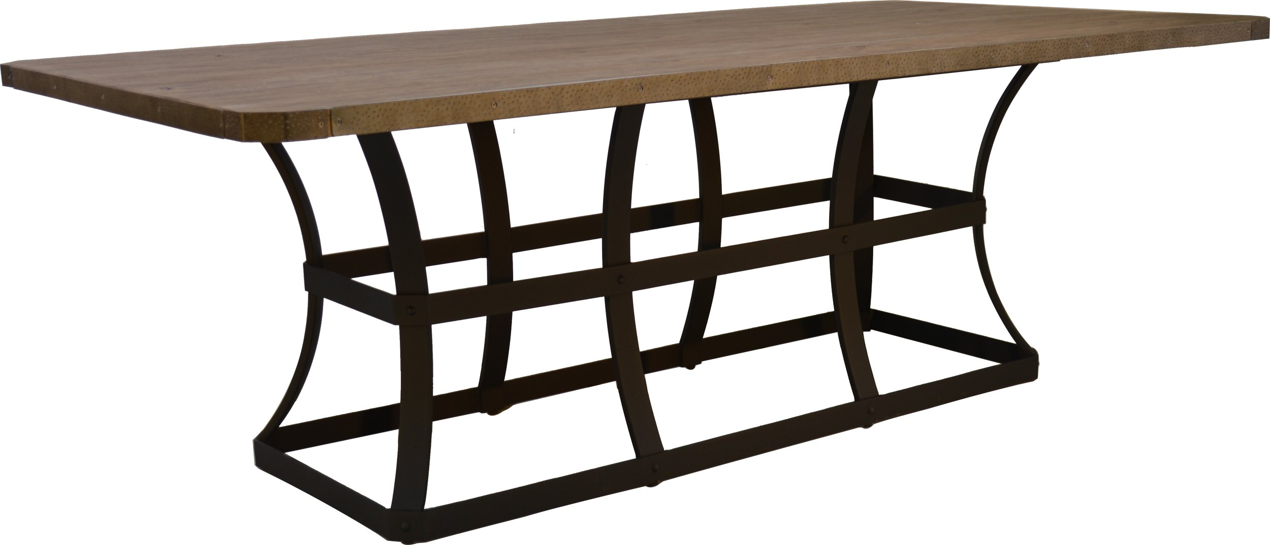 """PL-4484 44"""" x 84"""" Dining Table Base   23"""" x 61"""" x 28""""  Top - EA-4484 Erie 44"""" 84"""" Rect. Top Reclaimed Barnwood"""