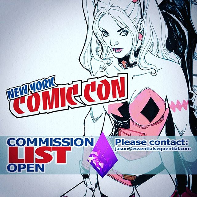 Come to my booth for signatures, bring #YoungJustice #HarleyQuinn #Catwoman for #signing and say HI, The #NYCC #commission #commissions list is open, email jason@essentialsequential.com for details, my @dccomics  statue #harley  #redblackandwhite is available now! @newyorkcomiccon
