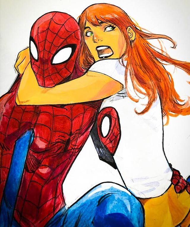 Having fun during #NYCC #NYCC19 The #convention was great, ill be posting updates, #art #commissions and many #surprises so many friends and people came to say Hi, thanks all #johntimmsart #johntimms #spidey #spiderman #maryjane #redhair