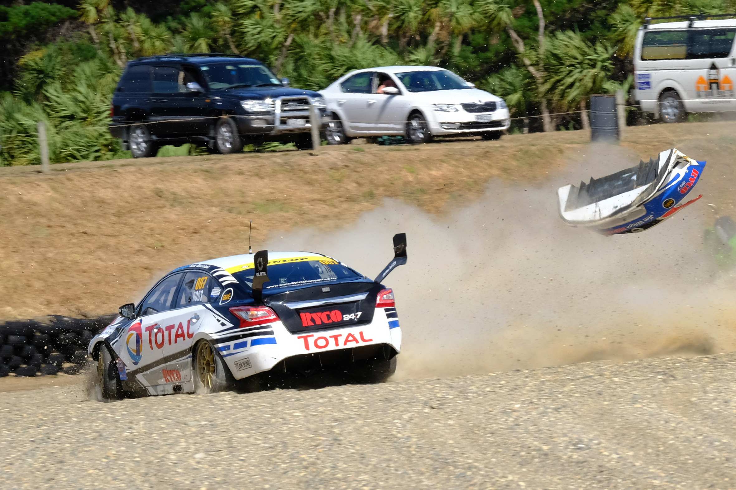 A scary moment for Nick Ross and his Total Lubricants Nissan Altima at Teretonga.  Photo Credit Geoff Ridder.