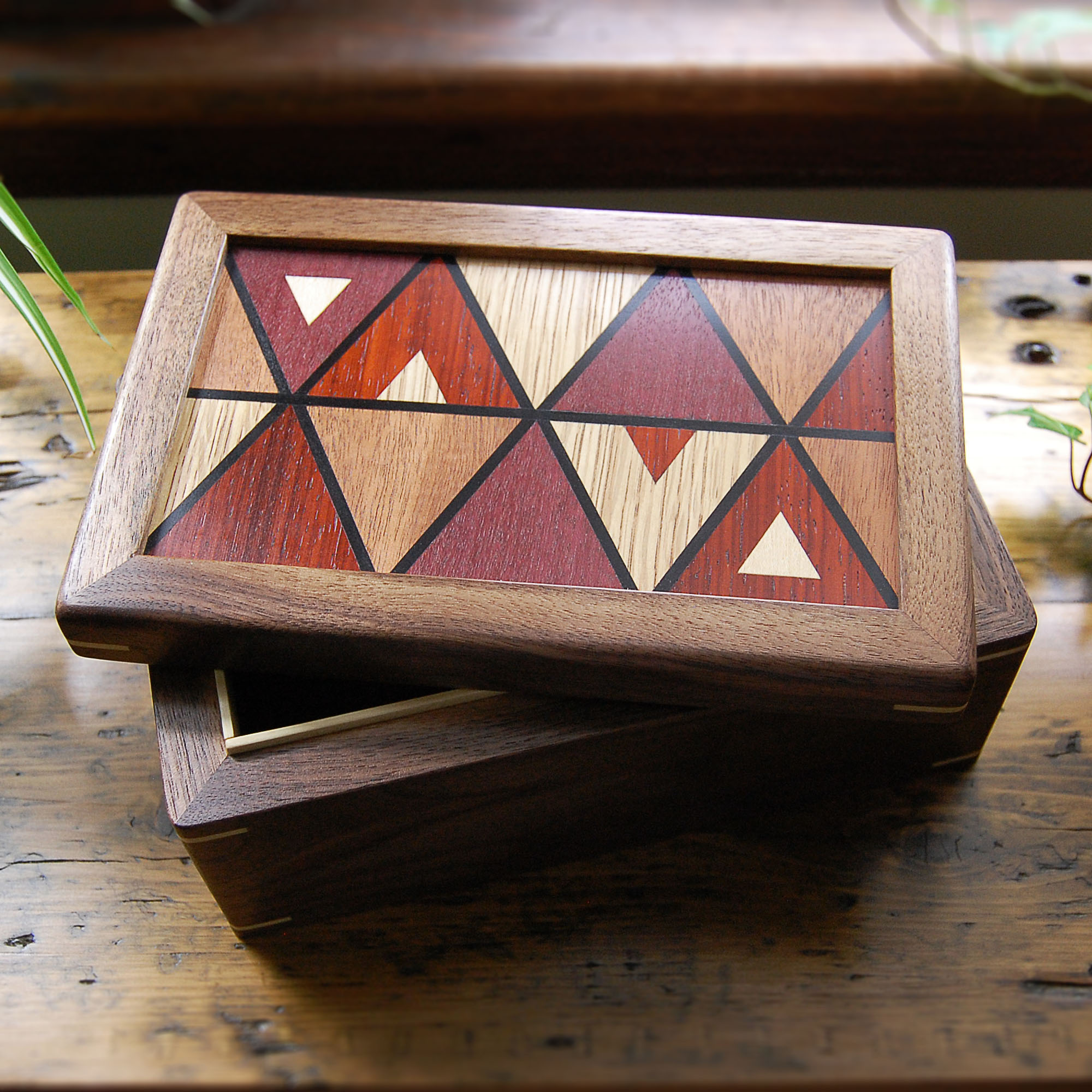 "Commissioned ""V.A."" wooden box"