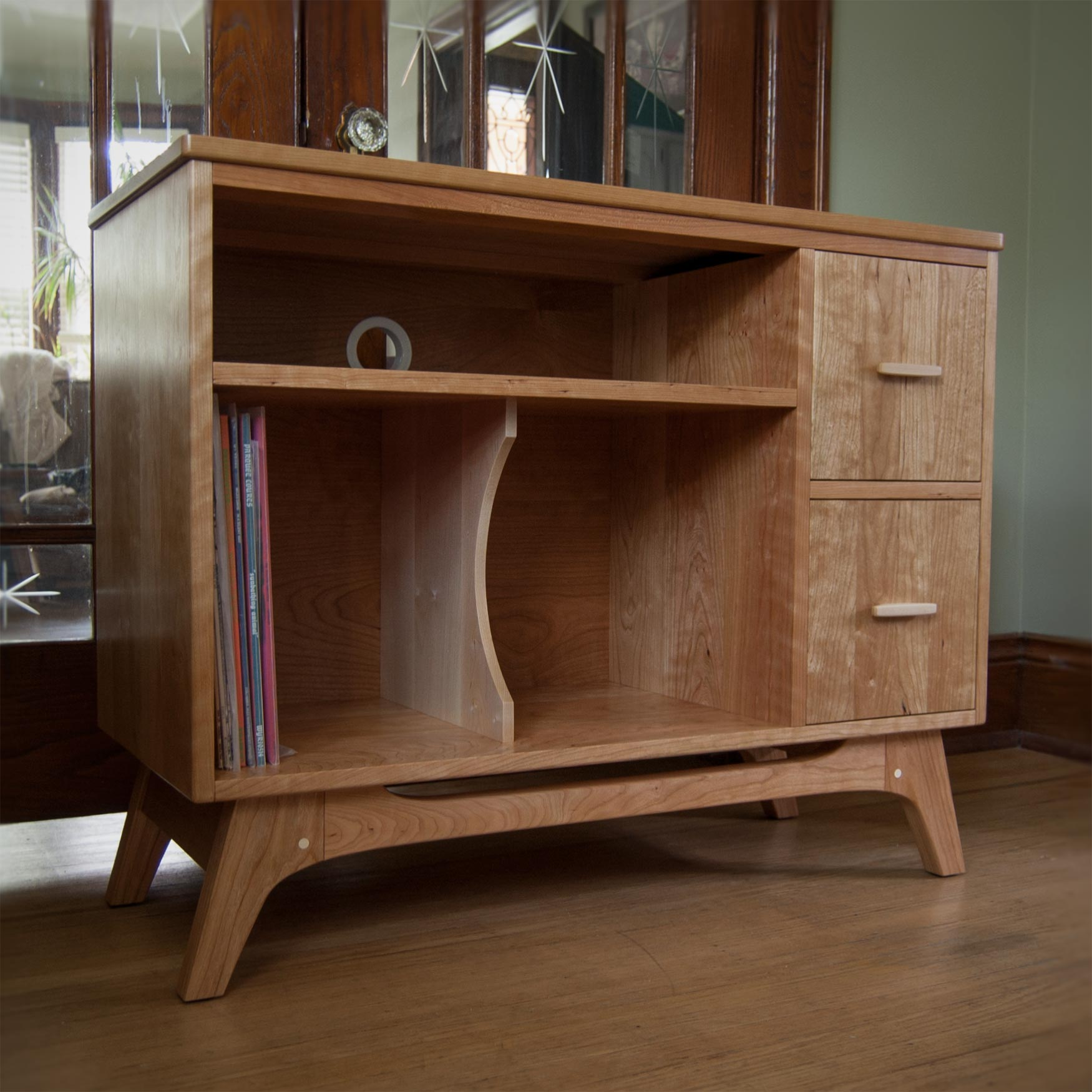 Cherry record cabinet with drawers for 45s