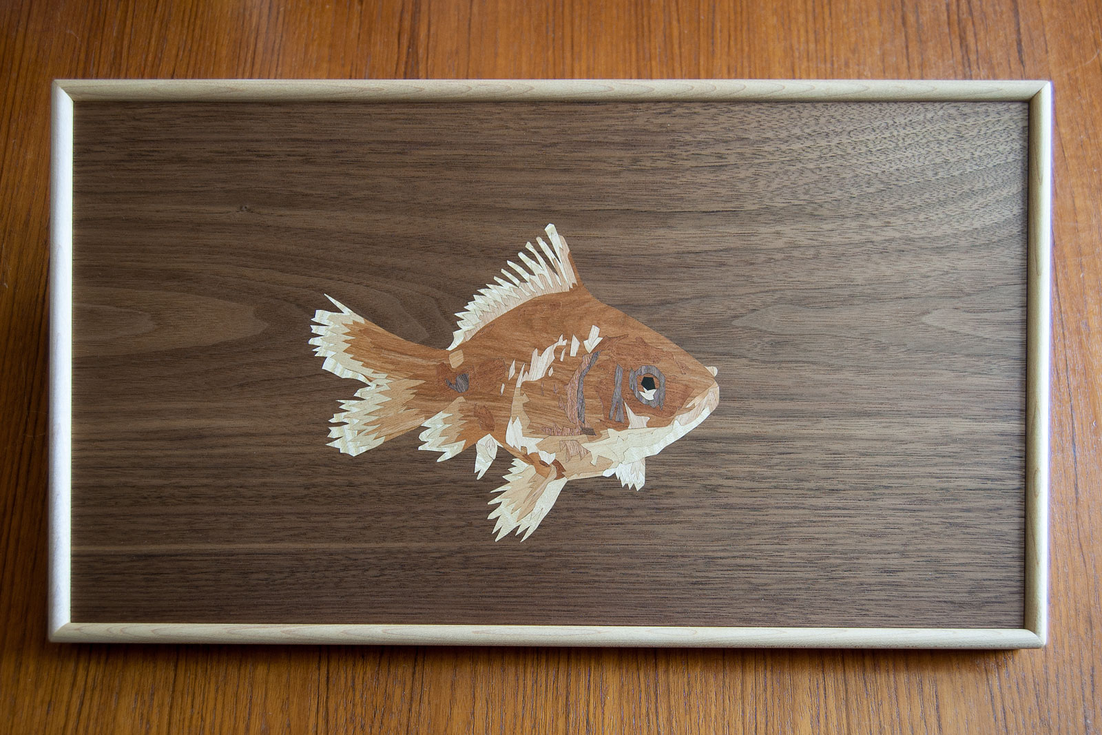 Goldfish marquetry wall art