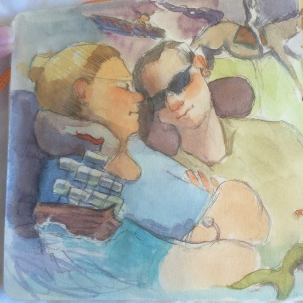 Detail of couple sleeping and the dreams I gave them.