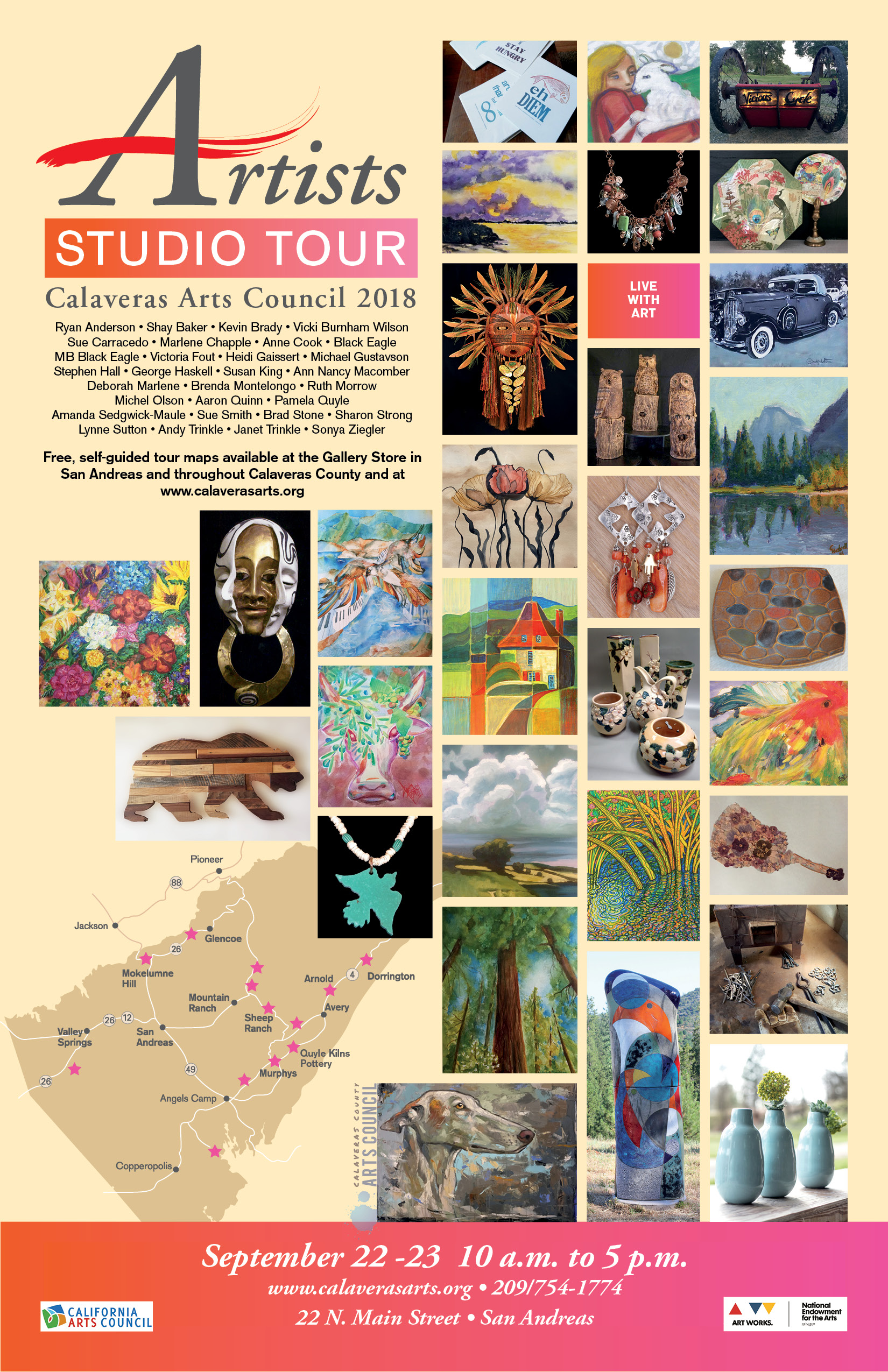 "Artists STudio tours - Client: Calaveras County Arts CouncilMarketing campaign for arts council tour of local artists.Included:•Eye-catching poster attracted attention and carried brand and event awareness through community and in tourist spots•Targeted social media ads reached audiences throughout the MotherLode, the Central Valley, and the San Francisco Bay Area.•Listings and maps available on client website as downloadable pdfs that could be printed in color or in black and white.•A four-color 11"" x 17 "" two-fold brochure featuring work by all the artists, listings, a large map and individual maps leading to each site.•Press releases tailored to various print, web and social media. Releases are highly successful, with a high rate of placement in local media. Read blog post."