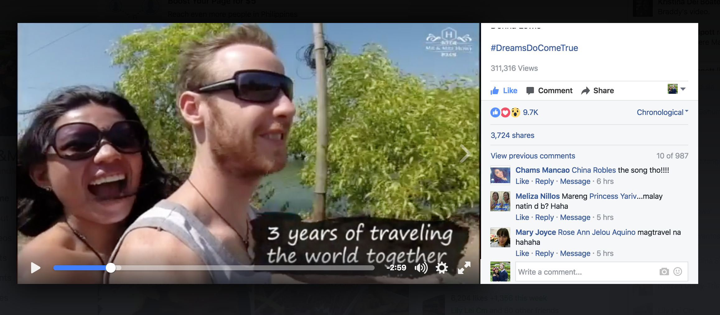 Our love story video that we boosted on Facebook for November.. it already has 311,316 views / 3,724 shares / 9,700+ Likes and 987 comments! It's our true story but if you won't pay Facebook to boost then not a lot of people would see it.. they have millions of users!