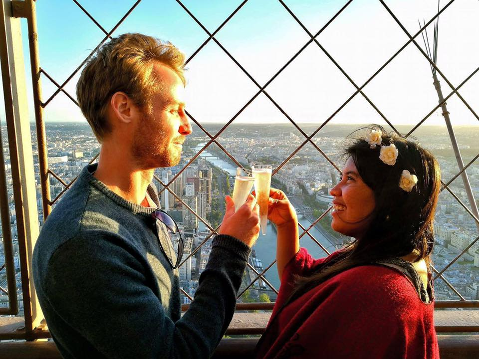 Champagne on top of the Tour Eiffel while watching the sunset.jpg