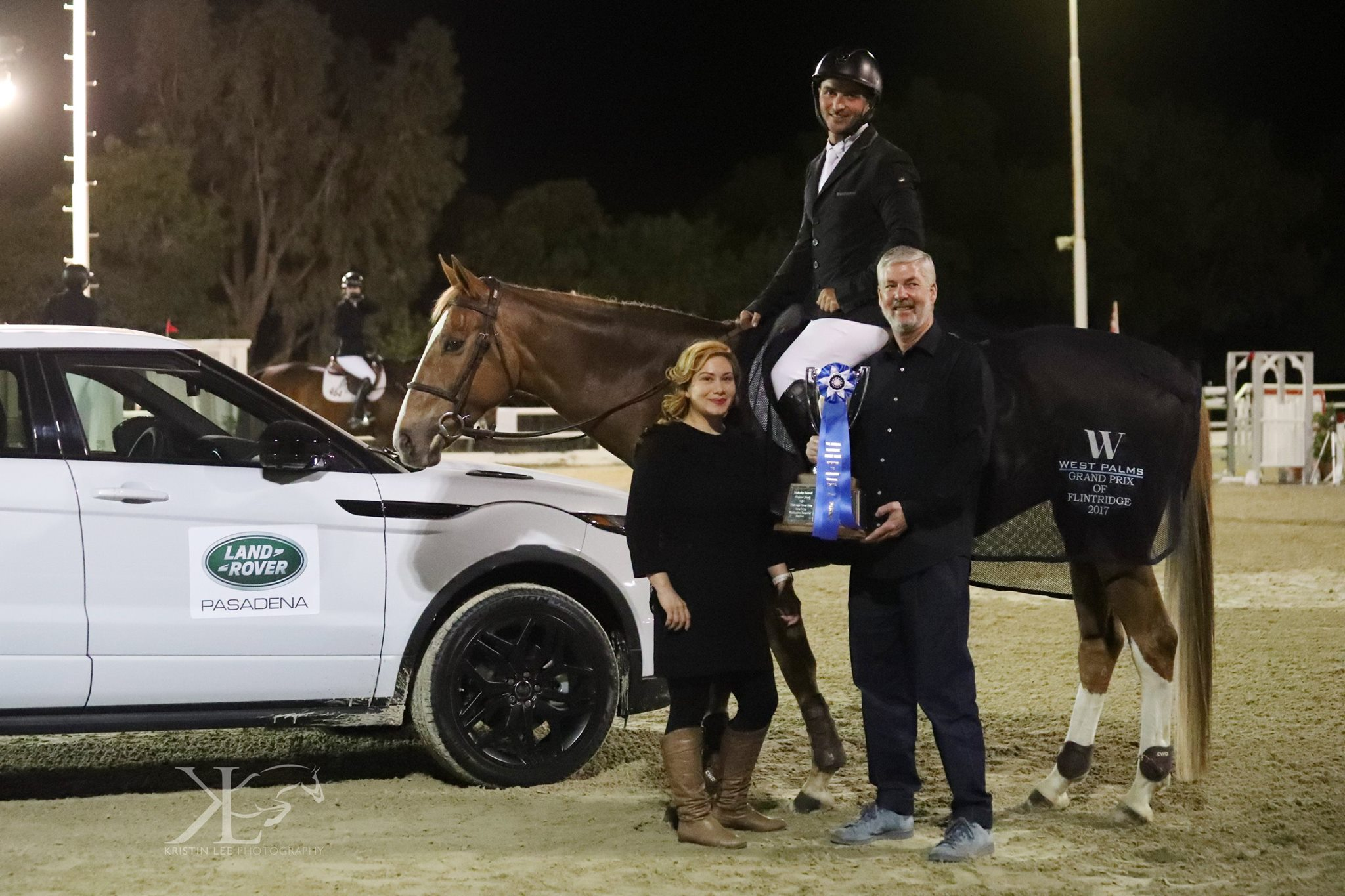 Congratulations to $15,000 Grand Prix of Flintridge Winner,Kevin Winkel and Osophia with Lorriane Macis and Dan Gaby.West Palms Events Photo ©Kristin Lee Photography LLC — with Land Rover at Flintridge Riding Club.