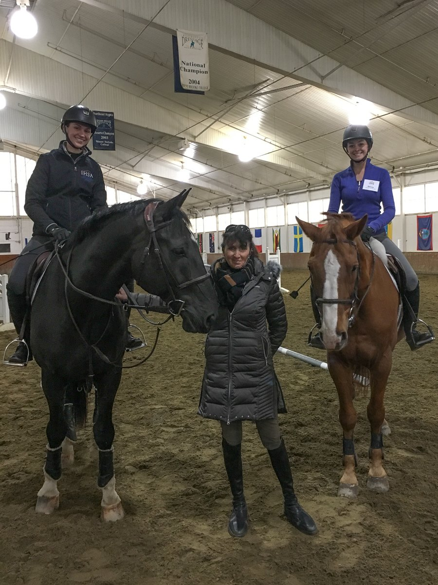 I enjoyed reuniting with past Maplewood Horse Industry Training Program students Bridget Finnerty, left, and Sabrina Fox at Mt. Holyoke.
