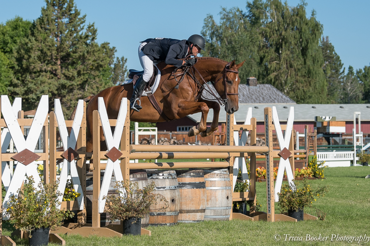 Golden Power W and Andrew Jayne finished seventh in the $10,000 USHJA International Hunter Derby at the 2019 Oregon High Desert Classic.