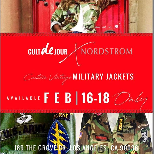 🌟🌟 THE POP UP 🌟🌟 Never before in stores! Cult de Jour jackets available @nordstromthegrove 189 The Grove Drive, Los Angeles, California 90036. February 16th 18th ALL STAR WEEKEND ONLY. 12P - 5P . First come first serve. Each jacket is unique! Come and get your life!!! #cultdejour #lookbook #valentinesday2018 #latestfashion #militaryjacket #allstar