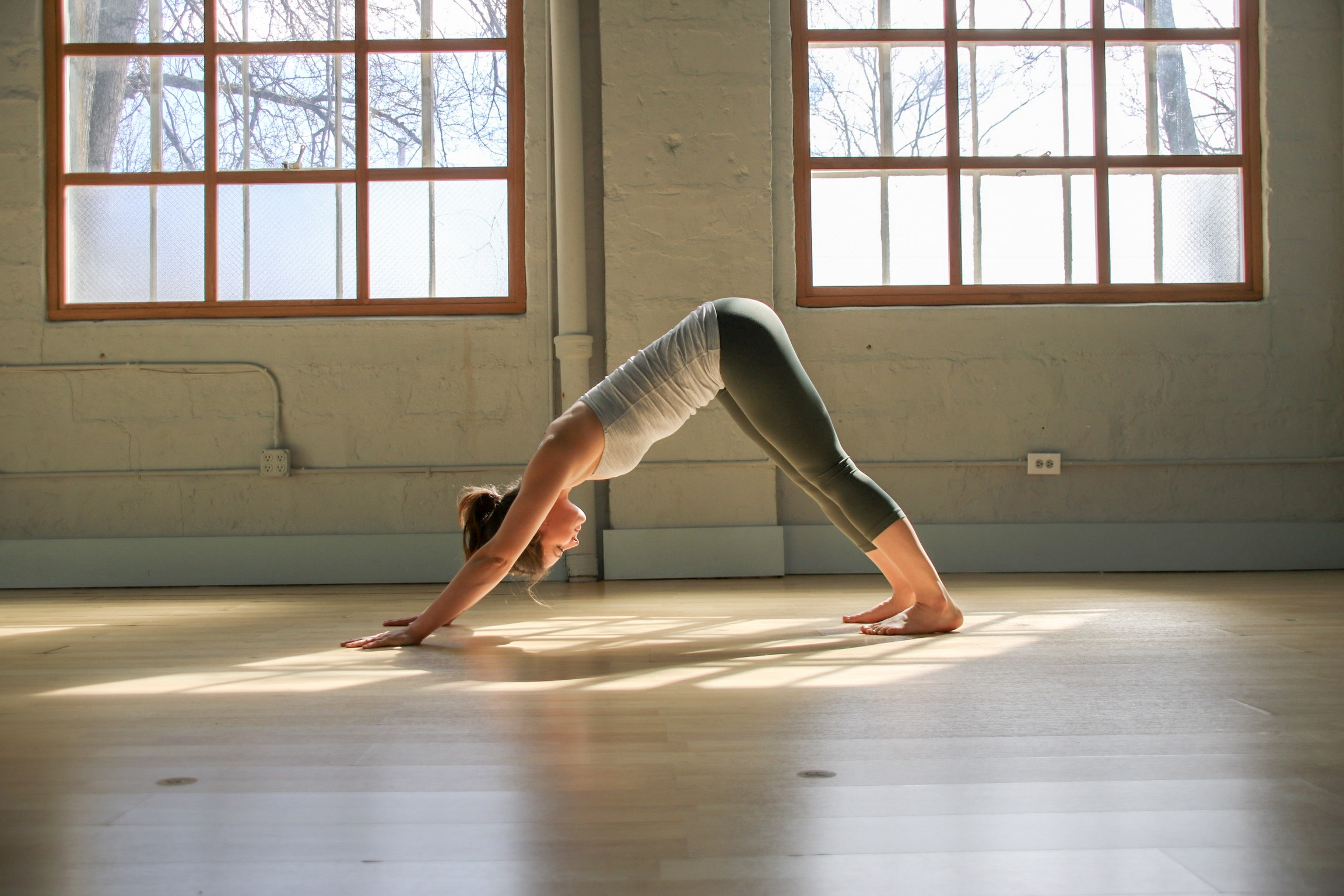 How to practice: take hands shoulder width apart, feet hip width apart. Lift hips towards the ceiling, push the floor away with the hands, heavy heels towards the ground.