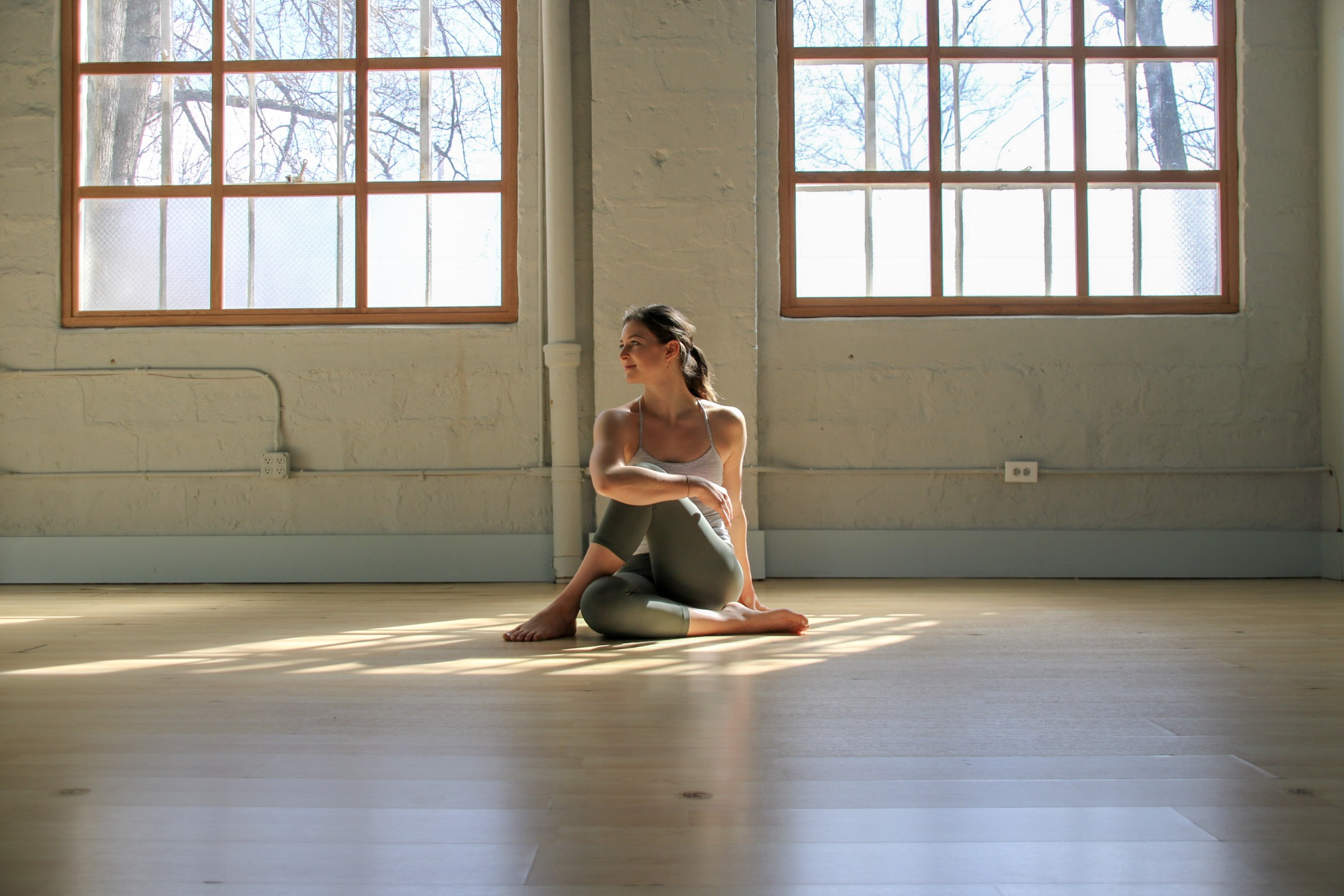 How to practice: From a seated position extend left leg long, step right foot to the outside of the left leg, choosing to keep the left leg extended or bend the left knee and slide the left ankle towards the right hip. Sit tall and twist to the right, draping the left arm over the right thigh, and stepping the right hand to the floor behind you for support. Unravel and switch sides.