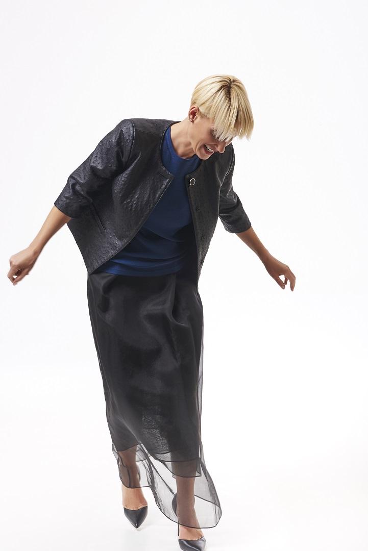 Black+ostrich+jacket,+blue+knit+shell,+black+organza+layered+skirt,+full+length.jpg