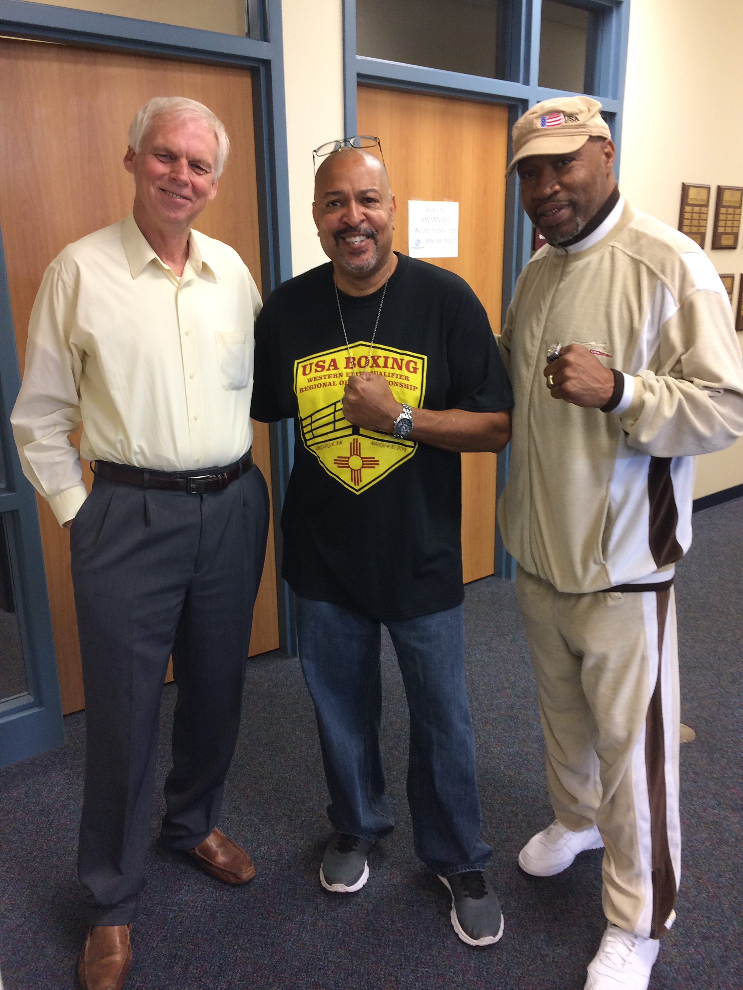 BGCS Executive Director Pat Gartland, Coach Smitty (Smitty's Boxing Gym), and boxing legend Ray Mercer.