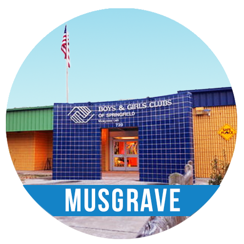 MUSGRAVE UNIT SCHOOL PROGRAM   720 S Park | 417.869.8211   Registration is currently FULL  for the Musgrave Unit school year program. For further information or  to be placed on a waiting list   please contact Robin  at (417) 417-869-8211 or e-mail  rreiter@bgclubspringfield.org .   Serves:  Carver, Central, Jarrett, Mark Twain, McGregor, Parkview, Pipkin, Portland, Sunshine, Westport, & York.  The Musgrave Unit hours of operation are 3-8 pm,Monday - Friday with the exception of closing at 6:30 pm on Tuesday.  Please know that we are working hard to provide a quality program within the safe environment requirements for our building. Thank you.