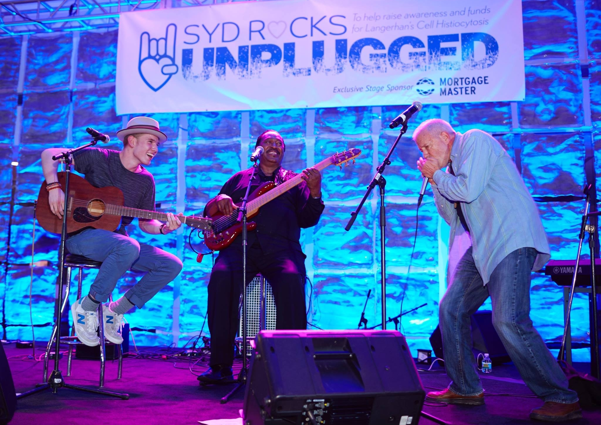 SydRocks Unplugged Fundraiser L-R Will, Felton Crews, and Corky Siegel Photo by Josh Dreyfus