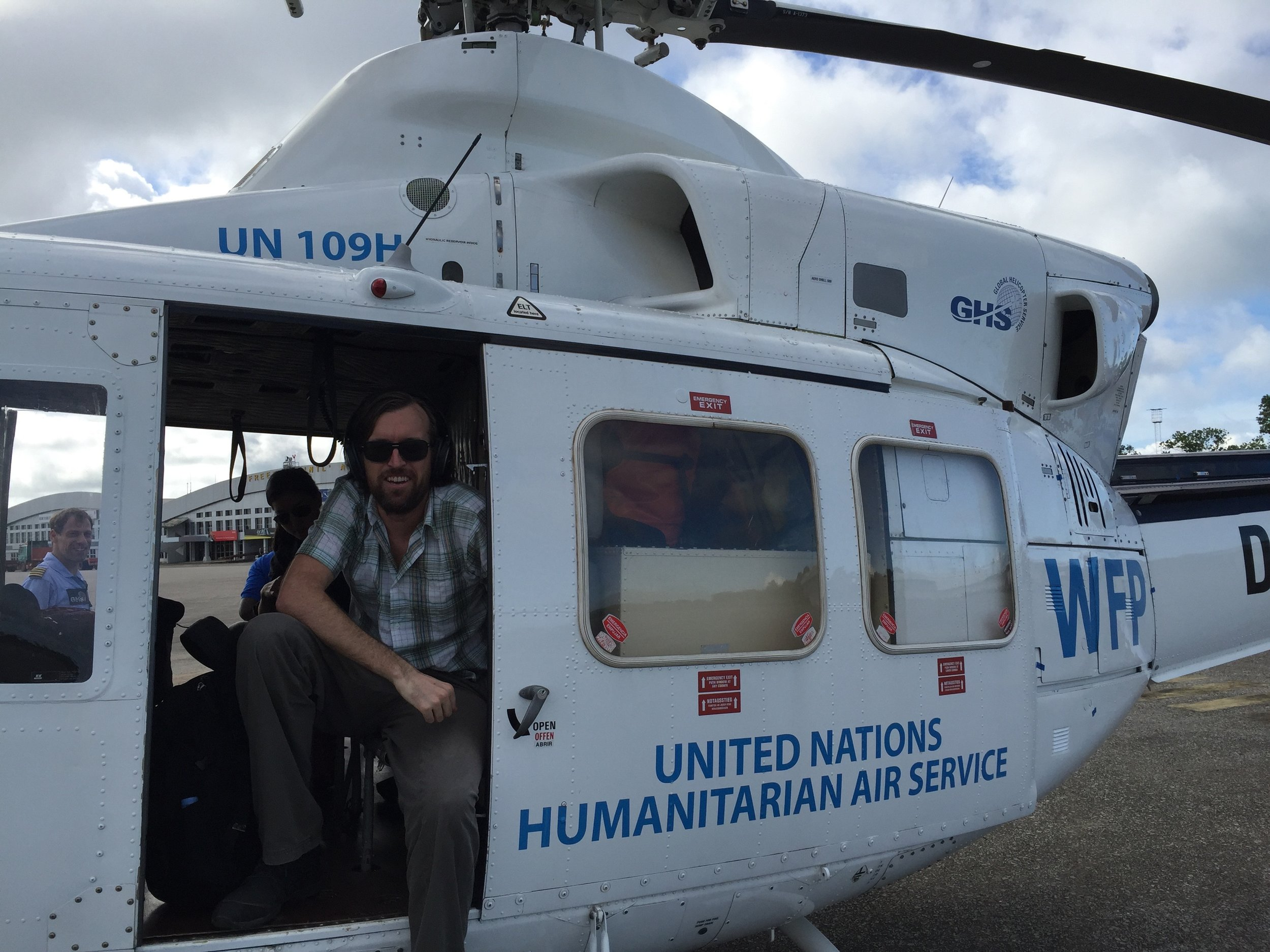 Gene Richardson in a UN helicopter while on his service trip.