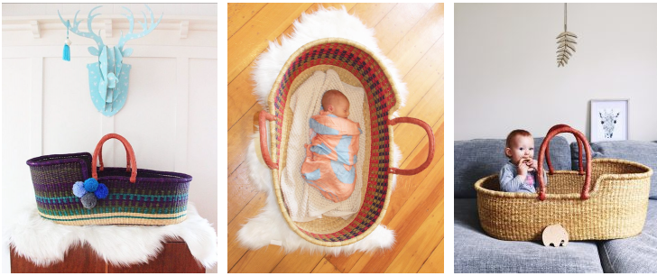 Moses baskets from Young Folk Collective