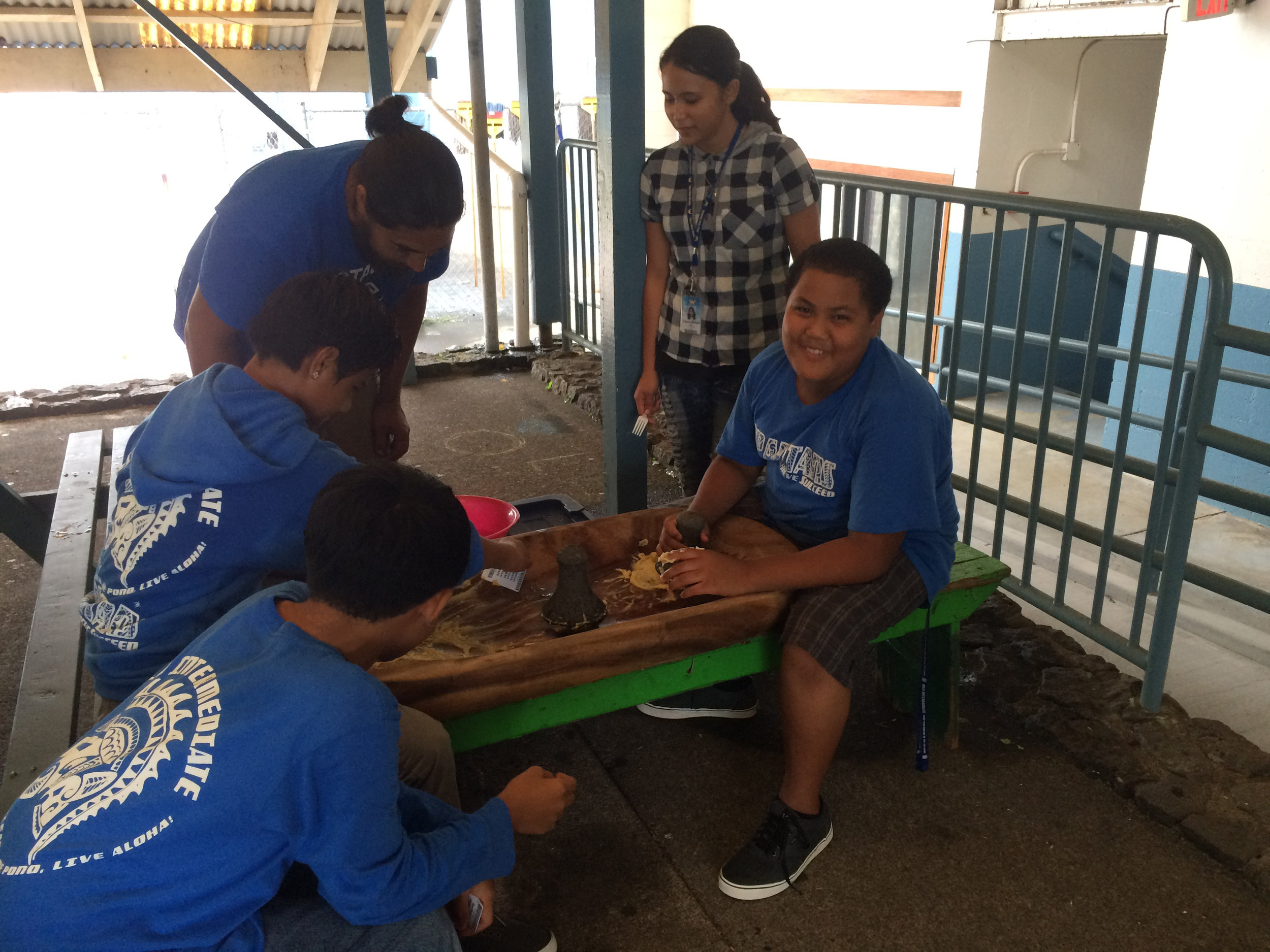 Teens participating in cultural-based activity.